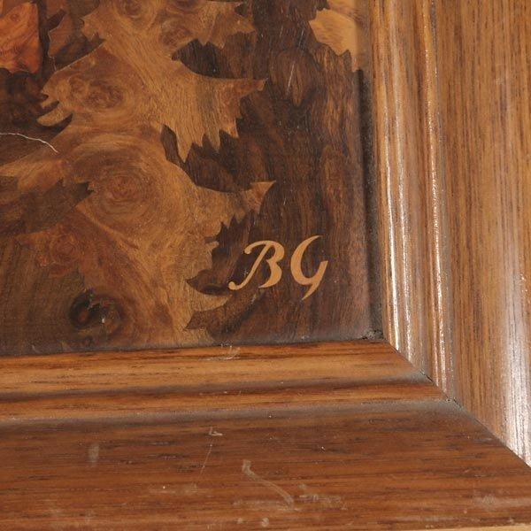 820: German Wood Inlay Plaque of Neuschwanstein Castle - 3