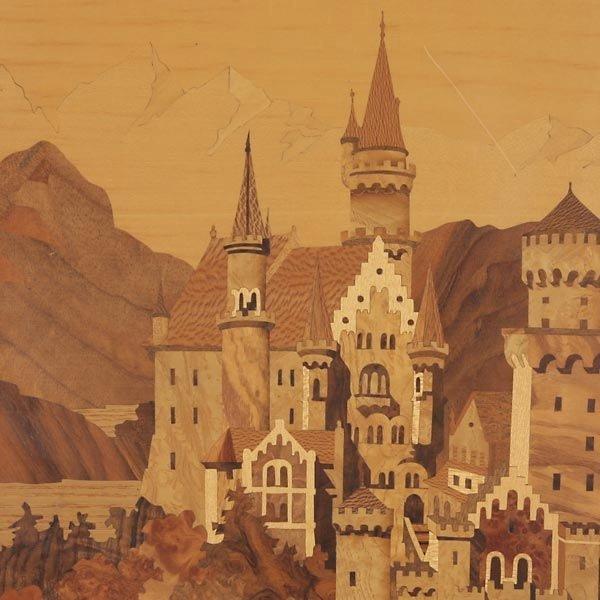820: German Wood Inlay Plaque of Neuschwanstein Castle - 4