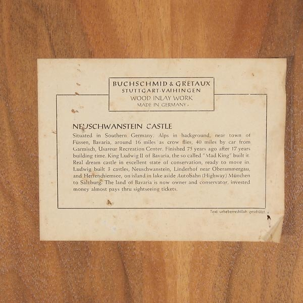 820: German Wood Inlay Plaque of Neuschwanstein Castle - 6