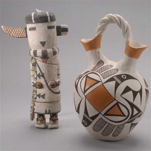870 Hopi Kachina Doll And An Acoma Wedding Vase
