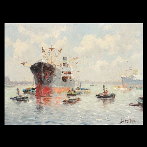 """12: J. VAN DELDEN   """"Harbor Scene"""""""