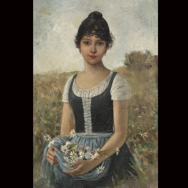 """19: Continental School   """"Young Girl Gathering Daisies"""""""