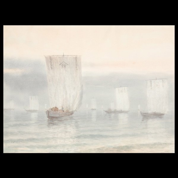 """25: TOKUSABURO KOBAYASHI   """"Junk Boats""""  Watercolor"""