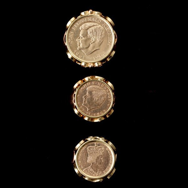 277: COLLECTION OF THREE 14K YELLOW GOLD COIN RINGS.