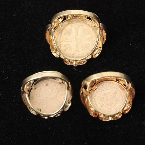 277: COLLECTION OF THREE 14K YELLOW GOLD COIN RINGS. - 5