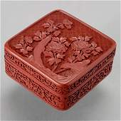 490: A Carved Cinnabar Lacquer Square Box and Cover