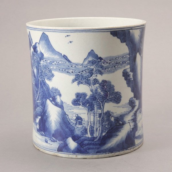 517: A Blue and White Brush Pot