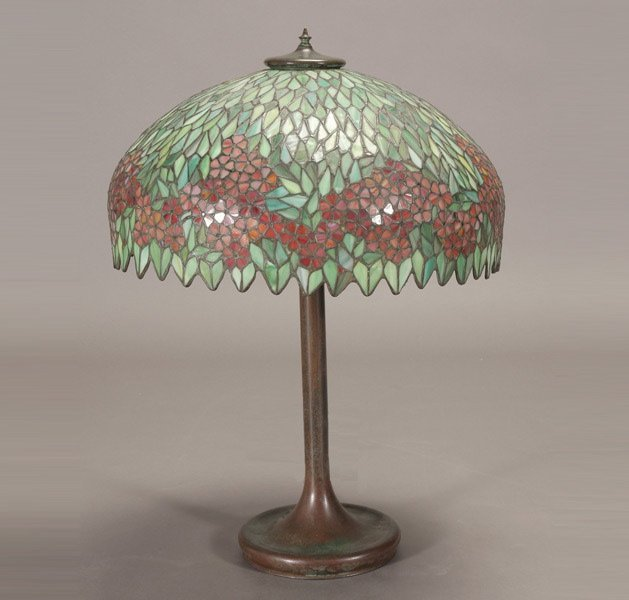 654: Unique Art Glass and Metal Co. Table Lamp