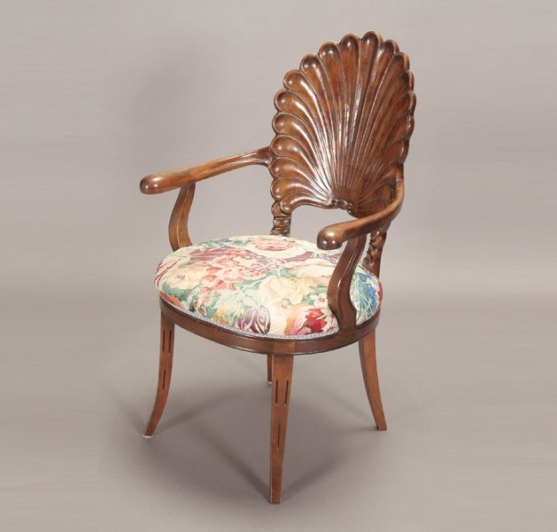 Rococo Style Arm Chair with Carved Shell Back