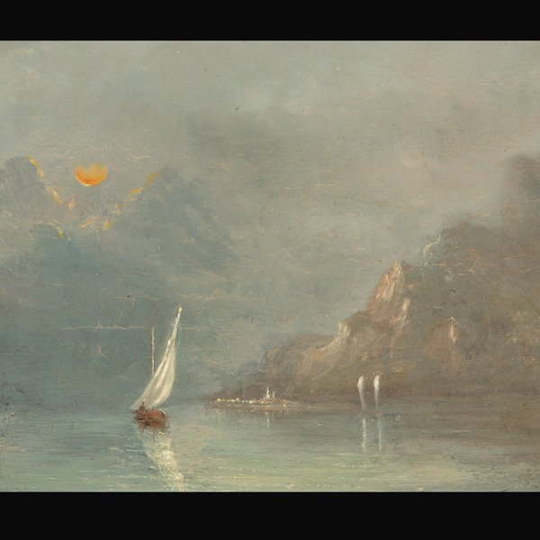 "21: School of Turner ""Sailing at Sunset"" Oil"