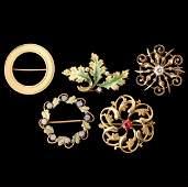 191 5 DIAMOND MULTISTONE ENAMEL GOLD BROOCHES