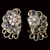 282: PAIR OF SAPPHIRE, DIAMOND, 14K Y/G EARRINGS.