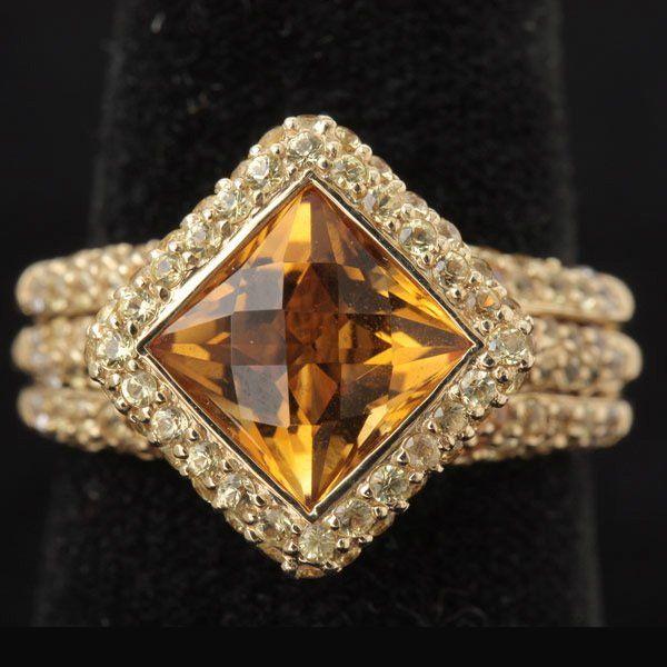 305: CITRINE, 14K YELLOW GOLD RING.