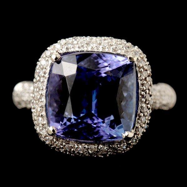 339: TANZANITE, DIAMOND, 14K WHITE GOLD RING.