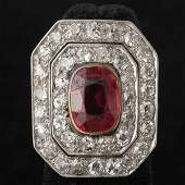 357 SYNTHETIC RUBY DIAMOND PLATINUM 14K GOLD RING