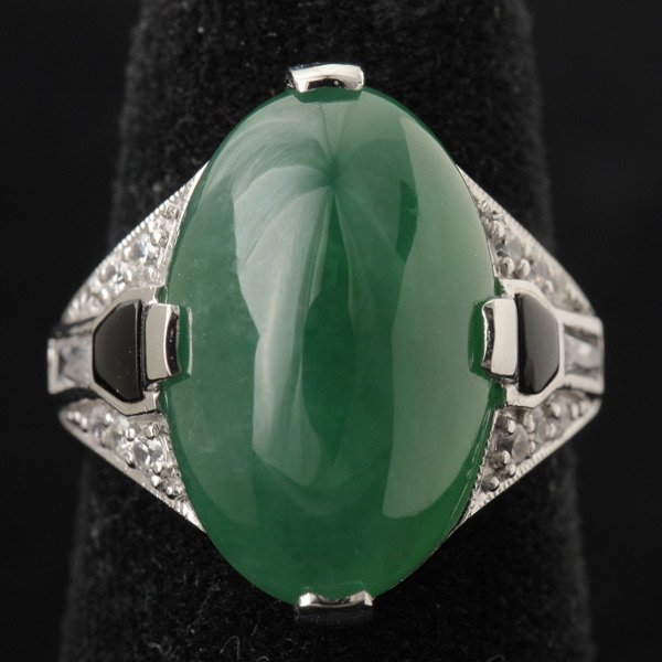 433: JADE, WHITE & BLACK STONE, STERLING SILVER RING