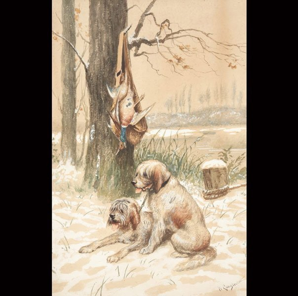 """26: C. LANGLOIS  """"Hunting Dogs at Rest"""""""