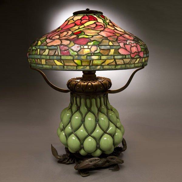30: Tiffany Studios Peony Table Lamp