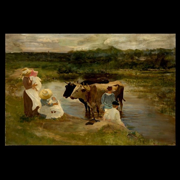50: Louis Comfort Tiffany Family Group with Oxen