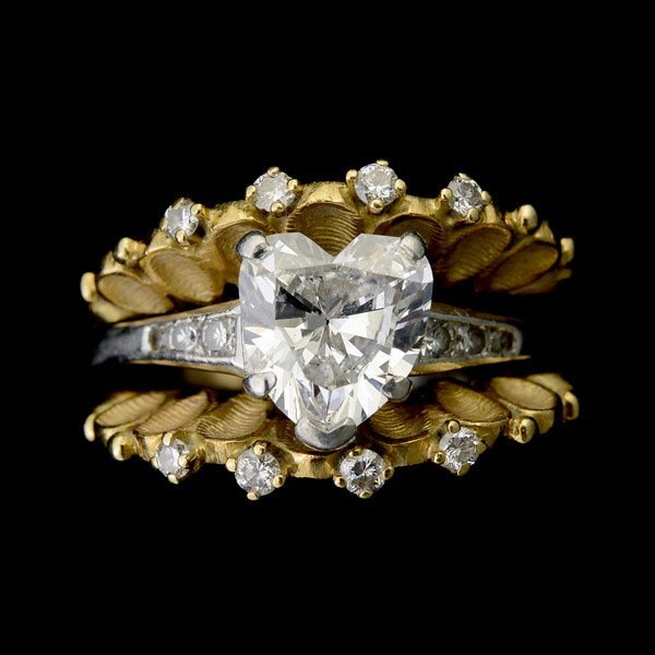 3011: DIAMOND, PLATINUM, 18K YELLOW GOLD RING SET.