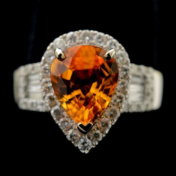 3015: TOPAZ, DIAMOND, 14K WHITE GOLD RING.