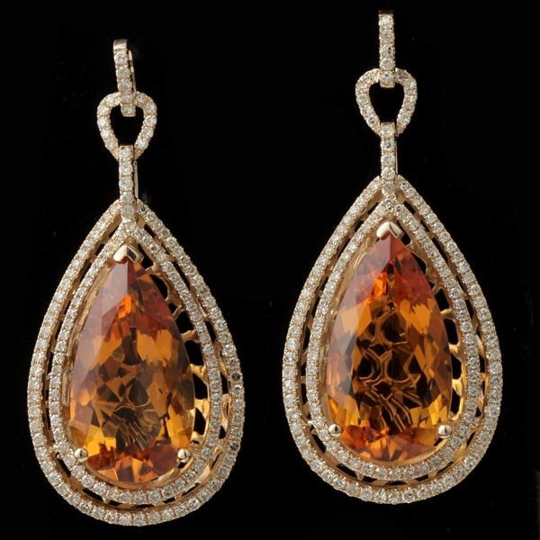 3022: PAIR OF CITRINE, DIAMOND, 14K YELLOW GOLD EARRING