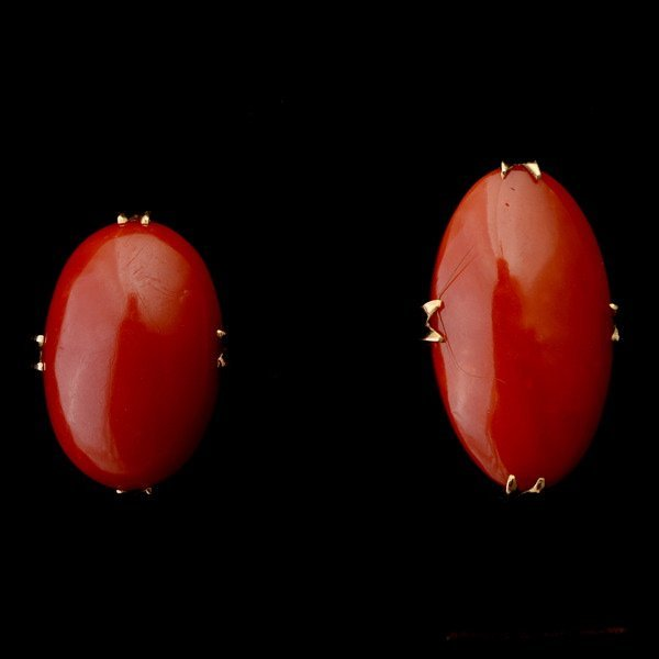 3037: COLLECTION OF TWO CORAL, 18K YELLOW GOLD RINGS.*