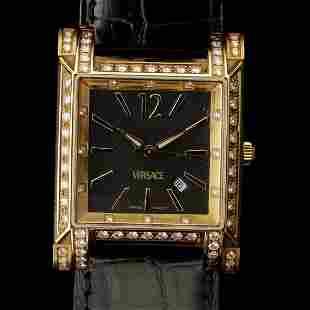 3150: GIANNI VERSACE DIAMOND, 18K YELLOW GOLD WRISTWATC