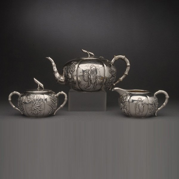 3272: Chinese Export Silver Three Piece Tea Service