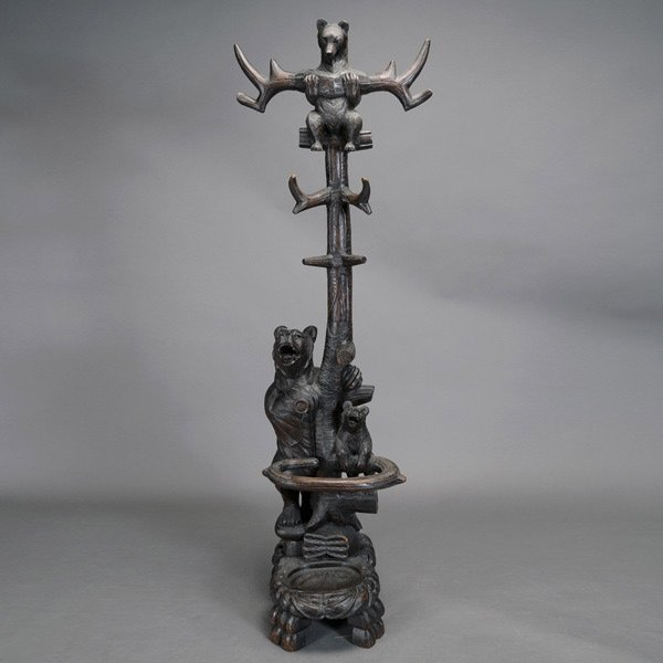 3301: Black Forest Bear Hall Tree Coat Rack & Stand