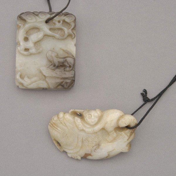 9008: Two Jade Pendants, Qing