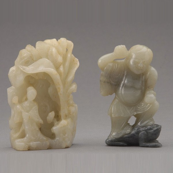 9012: Two Jade Figural Groups, 18th/19th C