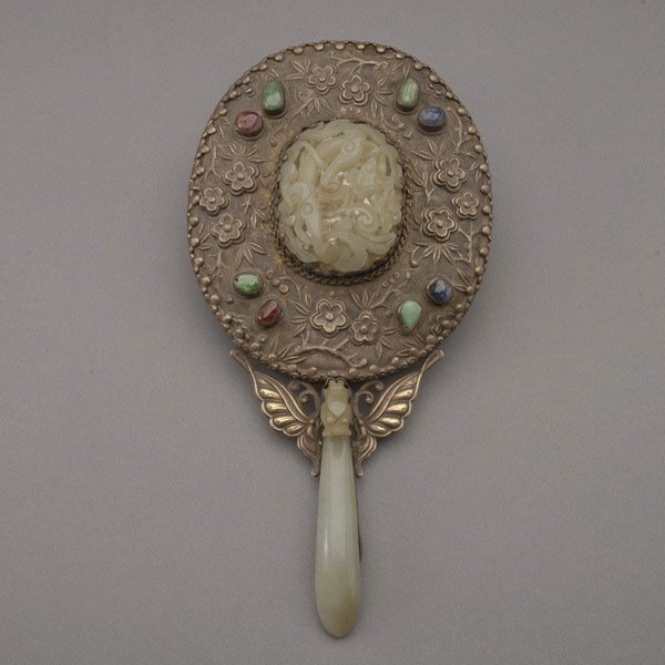 9020: A Silver-Mounted Mirror with Jade Handle, 19th C