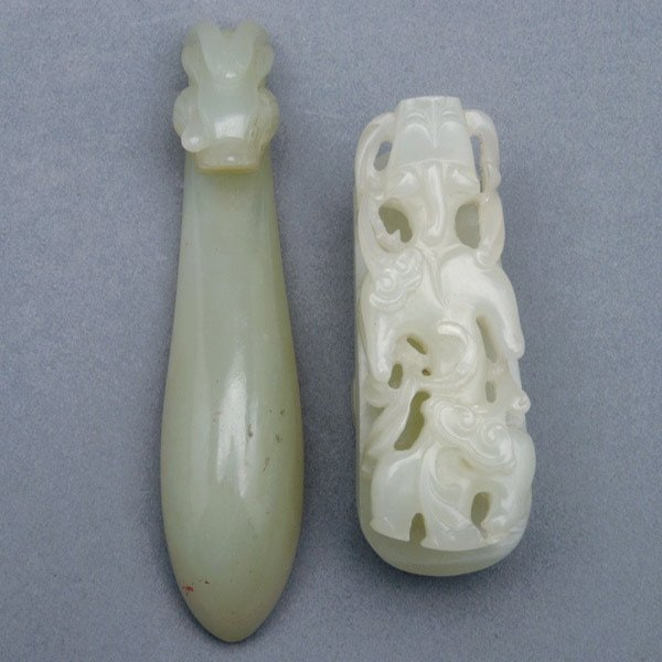 9021: Two Jade Belt Hooks, Qing