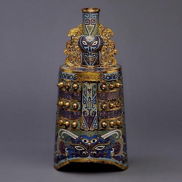 9129: Rare CloisonnŽ-Enamel Bell, Qianlong Mark & Perio