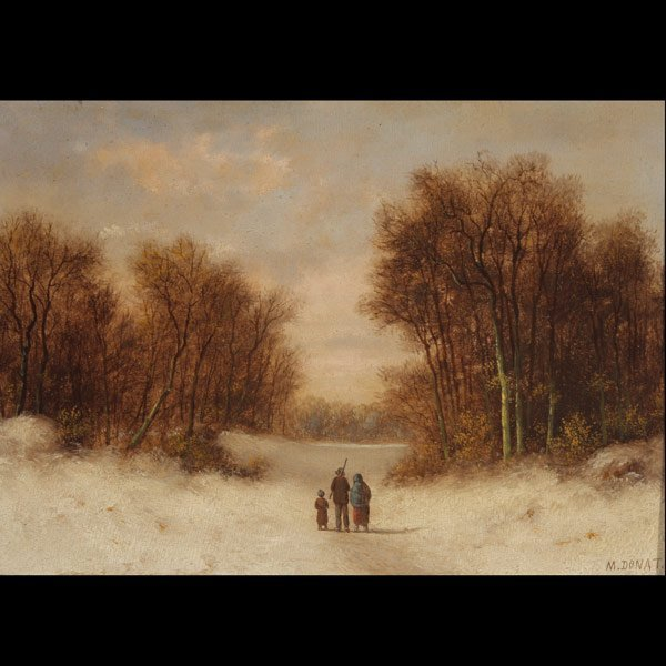 """2: M. DONAT   """"A Winter Evening in Holland"""" Oil"""