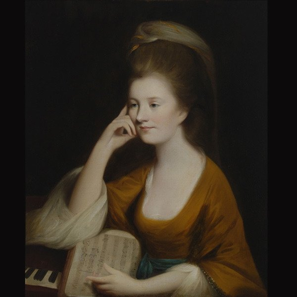 """4: Continental School """"Lady at a Spinet"""" Oil"""