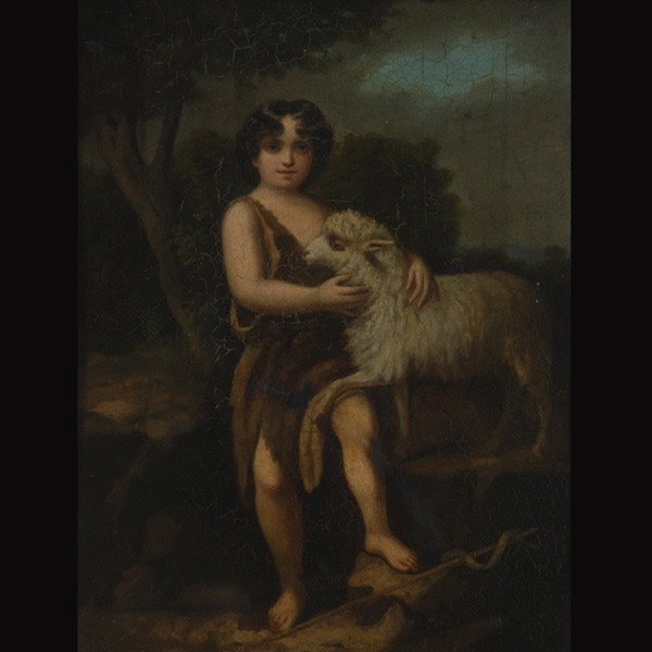 """6: Continental School  """"Christ Child with Sheep"""""""