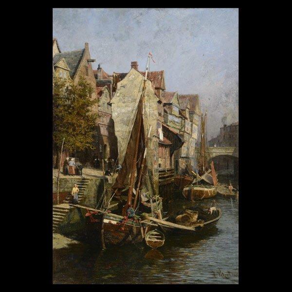 "9: HERMANN PETZET  ""Canal Scene, 1886""  Oil"
