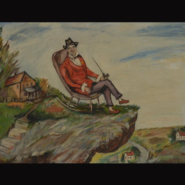 "14: A. BARLOW   ""Man on Rocking Chair"""