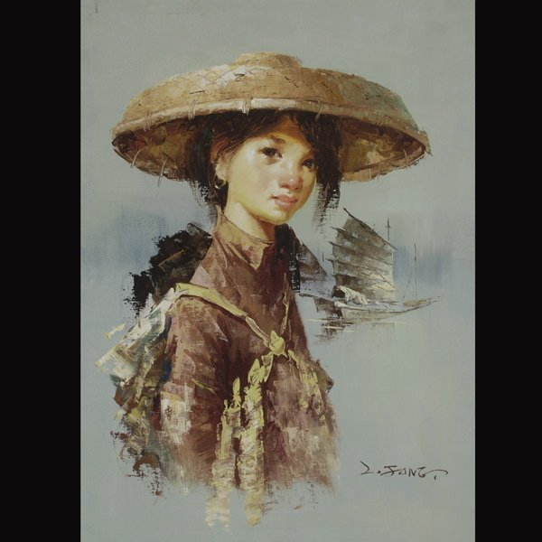 """15: LEE MAN FONG  """"Young Woman""""  Oil on canvas"""