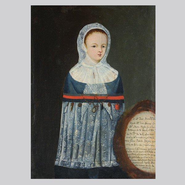 "19: Primitive School ""Portrait of a Girl"" Oil"