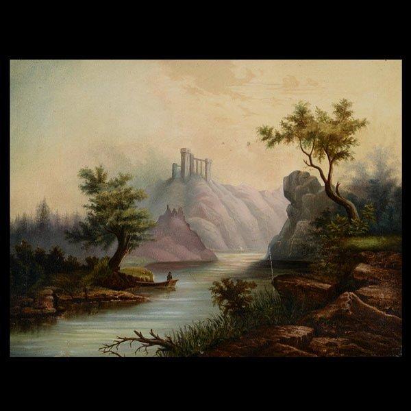"22: Continental School   ""Fisher's Landscape""   Oil"
