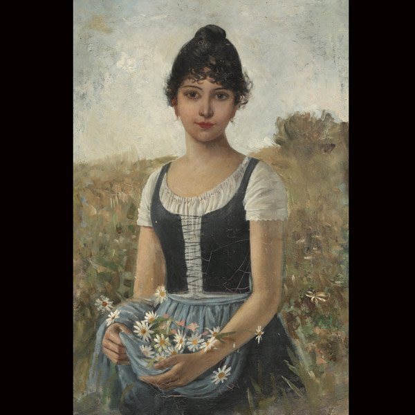 """23: Continental School   """"Young Girl Gathering Daisies"""""""