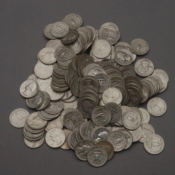 454: US Two Hundred Washington Silver Quarters,
