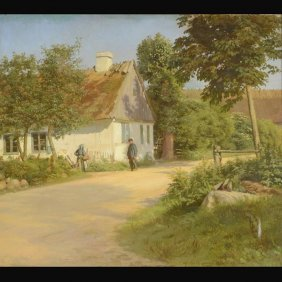 "GUSTAV VERMEHREN  ""Country Scene, 1924""  Oil"