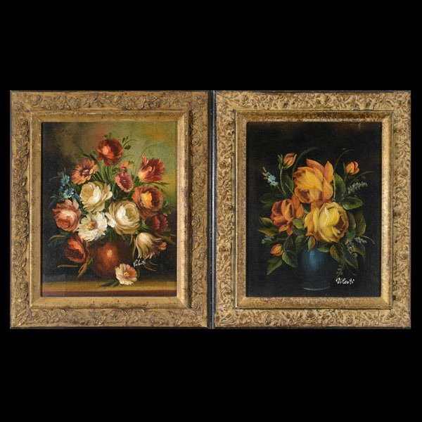 5: VALENTI  Two Oils of Floral Still Lifes