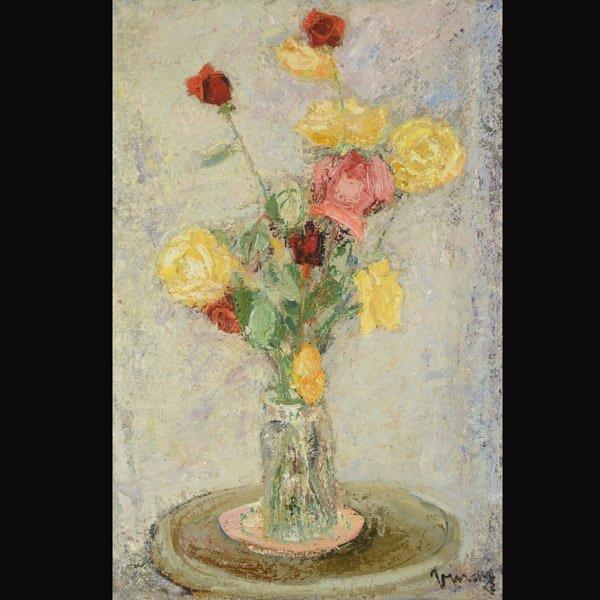 """9: JEAN VINAY  """"Roses Jaunes et Rouges"""" Oil"""