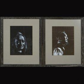 11: Pair of Portraits  Acrylic on silk