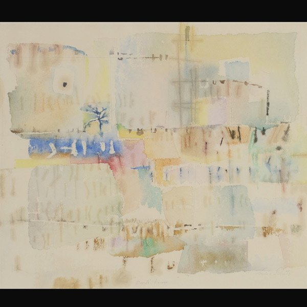 "15: LOUISE SCHATZ   ""David's Tower"" Watercolor"